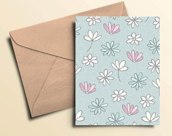 Blue & Pink Flowers Note Cards - Box of 10 With Envelopes