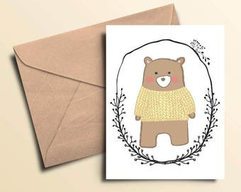 Woodland Bear Note Cards - Nox of 10 With Envelopes