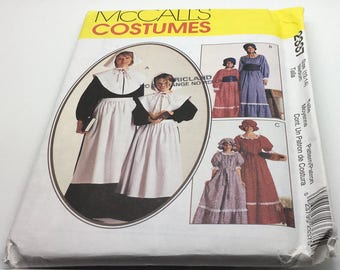 McCall's Sewing Pattern 2337 Women Pilgrim Dress Pioneer Old West Puritan Americana Historical Semi Fitted Short Long Sleeves Size 12 14