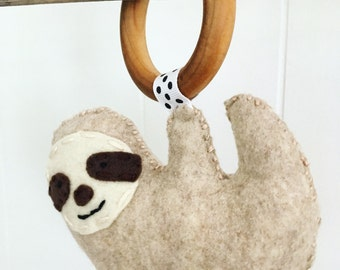 Felt Sloth Baby Teething Toy All Natural Maple Organic Eco-friendly