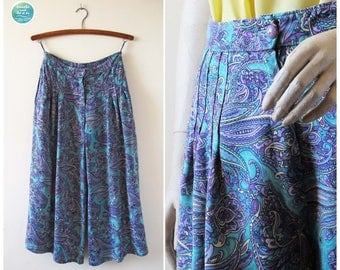 High Waist Culottes with Paisley Pattern, Vintage Boho Culottes, 80s Turquoise Purple Wide Leg Pants, Hippy Culottes, Size Small