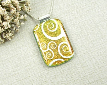 Orange and White Swirled Fused Dichroic Pendant - Rectangle Fused Glass Necklace - Swirled Pendant - Dichroic Jewelry
