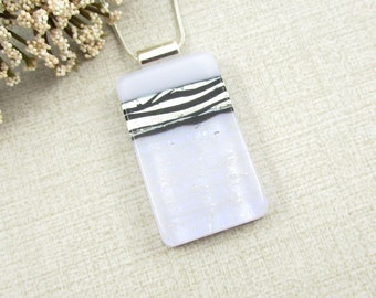 Pale Lavender Zebra Print Glass Necklace - Silver, Black and Lavender Dichroic Glass Pendant - Animal Print Necklace