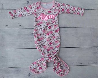 Knot Baby Gown Spring Pink Floral