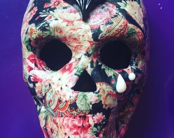 "Floral Decoupage Skull Ornament ""Nell"". Perfect Alternative Gift."