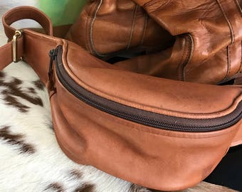 Vintage all leather fanny hip waist pack