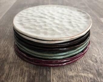 White ceramic dessert plates // hammered plates // textured plates // ceramic plates - Ready to Ship