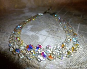Vintage Aurora Borealis Cut Crystal Two Strand Necklace