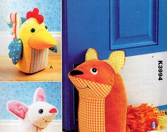 Free Us Ship Kwik Sew 3994  Whimsey Door Stops Fox Chicken Hen Rooster Animal Uncut Sewing Pattern ff