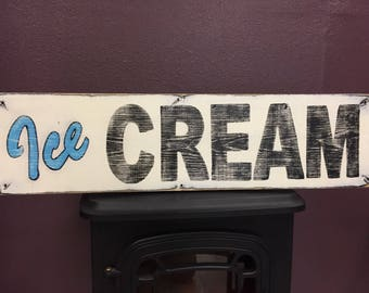 Ice Cream sign, hand painted sign, wood sign, Ice Cream Parlor, Ice Cream shop, Ice Cream