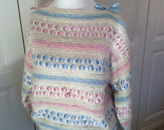 Jumper hand knit cream silk small with mohair & pastel ribbons