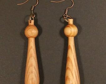 Hand-turned wood earrings