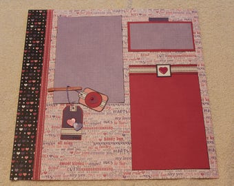 "Free Shipping!  Valentine's Day 2 Premade Pages - 12"" x 12"" for Scrapbook; Lavendar Embellishment - Happy Love Day! - SNSI2"