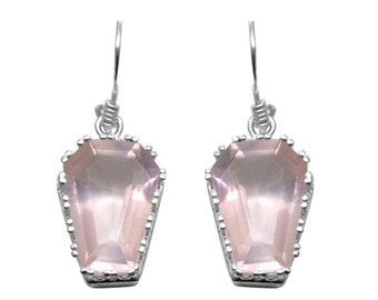 Coffin Earrings 10ct Natural Rose Quartz Solid Silver
