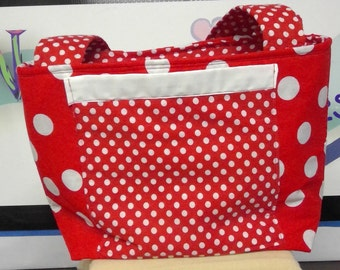 TOTE BAG, Handbag, Purse, Red and White, Polka Dots, Spring Bag, Fashion Bag, Handmade, Gift For Her, Top Handle Bag