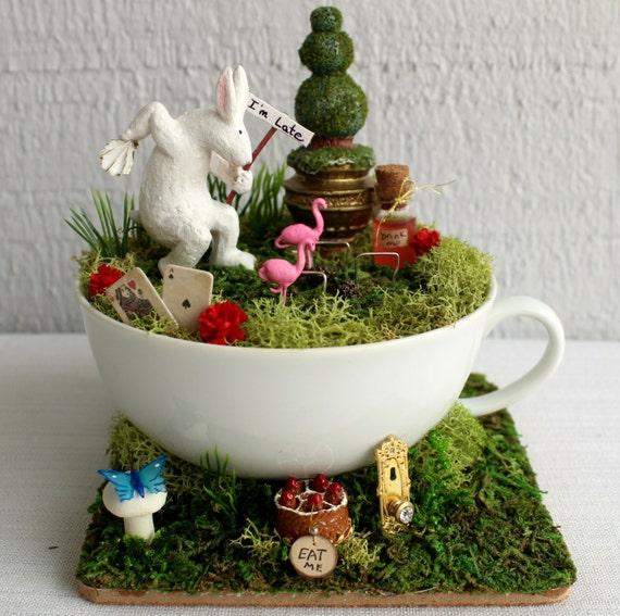 Alice in wonderland tea cup fairy garden miniature alice in for Alice in wonderland fairy garden