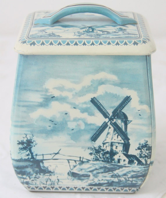 Vintage  Dutch Tin with Delf Blue Print, Canister with Wind Mill and Sail Boat Print
