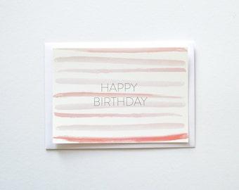 Happy Birthday Watercolor Stripes Flat Postcard
