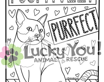 cat coloring page printable coloring book pages animal rescue charity pets gifts