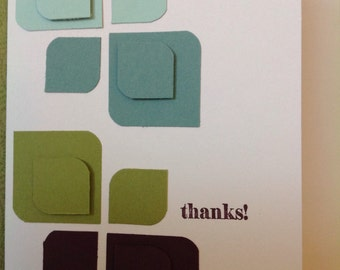 Handmade card- thank you card-leaf card-grateful-blank card- thanks so
