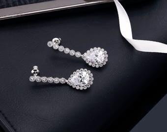 Bridal Earrings, Wedding Earrings, Crystal Earrings, Jeweled Earrings, Bridesmaids Earrings, Wedding Jewelry, Prom Earrings, Drop Earrings