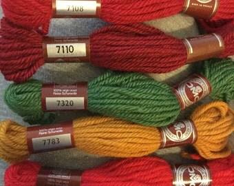 Laine Colbert DMC Tapestry Wool  7108, 7110, 7320, 7783, 7849