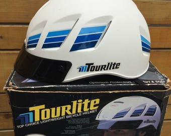 Used Once Extremely Rare Tourlite Vintage 1984 BELL Lightweight Bicycle Helmet Cycling W/box Sz S/M