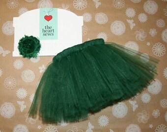 Green Tutu, Forest Green, St. Patrick's Day Tutu, Christmas Tutu, Newborn Oufit, Green Headband, Baby Girl, Christmas Outfit, Tutu, Green