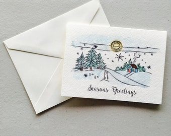 "Winter Wonderland ""Seasons Greetings"" Watercolor Greeting Card"