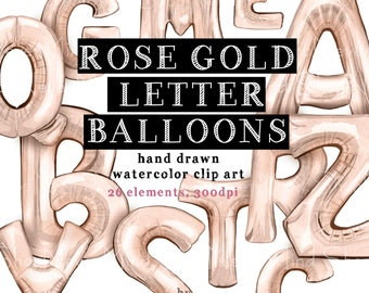 rose gold alphabet balloons clip art digital watercolor rose gold foil hand painted party letter balloons birthday decoration clipart set