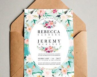 Floral boho invite, Watercolor Floral Wedding Invitation, Printable wedding invitation