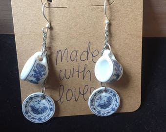 Blue Teacup and Plate Earrings