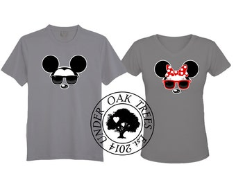 Disney Mickey and Minnie Cool Sun Glasses T Shirt Transfer Image File - His and Hers - Couples Friends or Groups - DIY- Instant Download