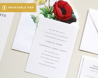 Floral Printable Wedding Invitation | Floral Invitation, DIY PDF Botanical Wedding Invitations, Poppy Invitations, Poppies