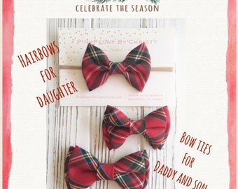 Royal stewart tartan bowtie - Red plaid bowtie - classic red plaid bowtie - daughter and son-Daddy and son - holiday bowtie - red bow