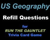 Printable US Geography Trivia Card Game, US Geography Trivia Flash Cards, Run the Gauntlet Game Refill Cards, Question cards only