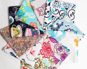 Ladies Handkerchiefs, Set of 10, Prints, Modern,Flannel Handkerchiefs, Reusable Tissues,Paperless Hankies,Womens Handkerchief WH805