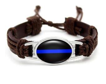 Thin Blue Line bracelet, Police Lives Matter Bracelet, Blue Lives Matter bracelet, mens bracelet leather, mens leather bracelet, police mom