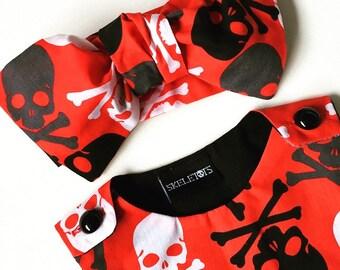 Skeletots skull & bones  red baby/girl bow headband