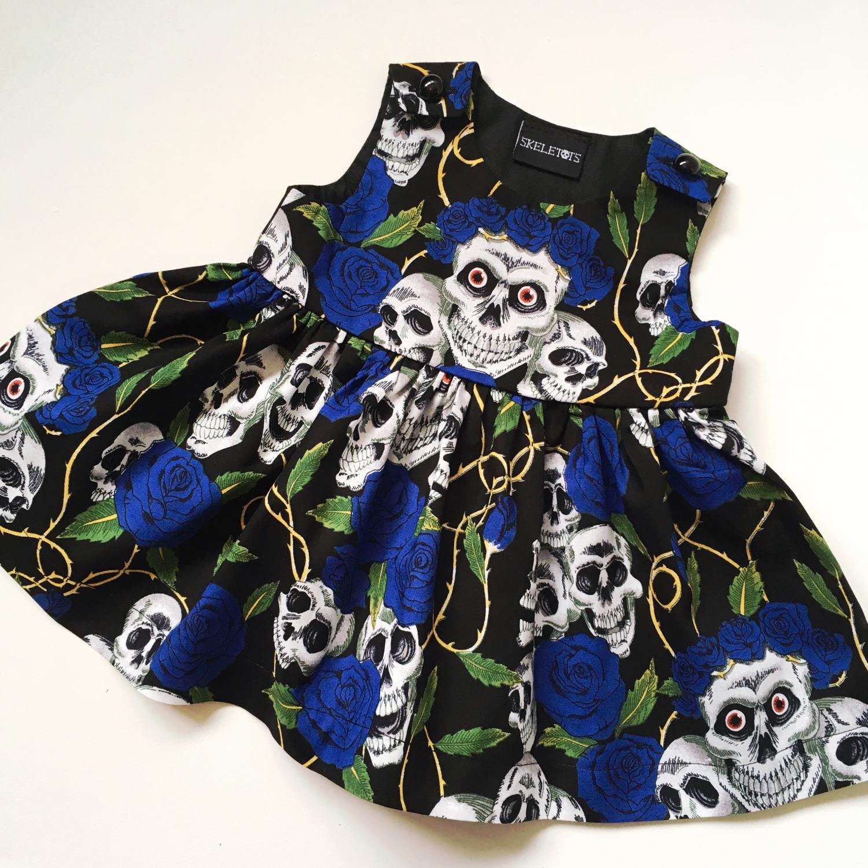 Skeletots skull & rose tattoo dress baby girl goth rockabilly ages 0