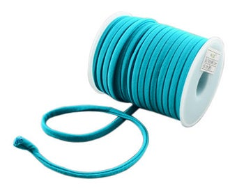 2 Meters Stitched Turquoise Blue Nylon Lycra Cord, Spandex Cord, Stretchy Nylon Lycra String, Elastic Cord 5 mm Sold in 2 & 5 meter Lengths