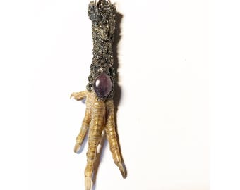 Chicken Foot Pendant- Amethyst