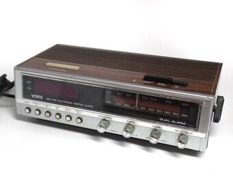 Vintage YORX Alarm Clock Radio - Vintage Clock Radio - AM-FM Electronic Digital Clock