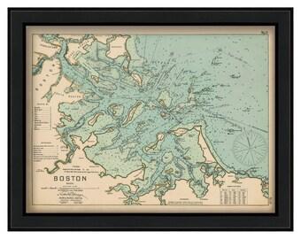 "Boston Harbor 36"" x 27"" - Nautical Chart by George W. Eldridge 1901"
