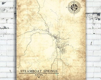 STEAMBOAT SPRINGS CO Canvas Print Colorado Vintage map Vintage City Map Wall Art Minimal Gift poster retro old antique map city poster map