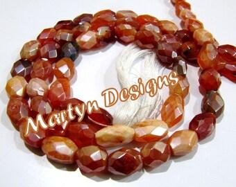 Beautiful Oval Faceted Carnelian Beads , AB Coated Mani Shape Carnelian Beads , Length 13 inches , Mystic Coated Gemstone Beads , Wholesale