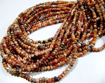 Top Quality Natural Mystic Coated Carnelian Beads , AB Coated , Multi Carnelian Beads , Rondelle Faceted 3-4mm Size Beads , Length 13 inch