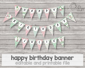 Printable and editable Sarah and Duck happy birthday banner