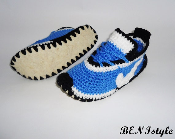 , Crochet Shoes, Crochet Blue Shoes, House Slippers, Crochet Nike ...