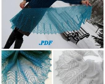 Knitting Pattern Shawlette - Fichu Firuza Instant download PDF file Hand Knitted Lace Shawl